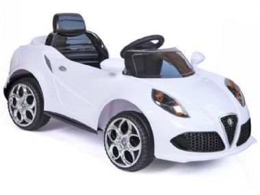 Alfa Romeo Roadster Style Kids Electric Car WHITE | 12v Motorised Sit and Ride-In Toy